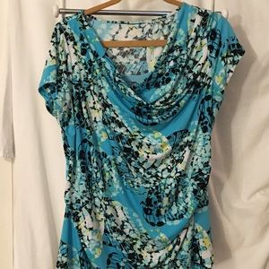 A11 - turquoise/black/yellow floral pattern blouse